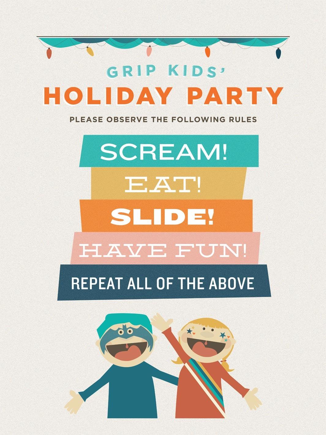 grip kids holiday party nancy ng art direction amp design