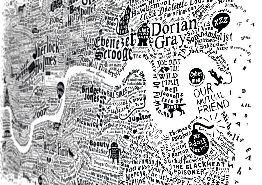 Literary London Map Art Prints Limited Edition: Map Of London Print At Infoasik.co