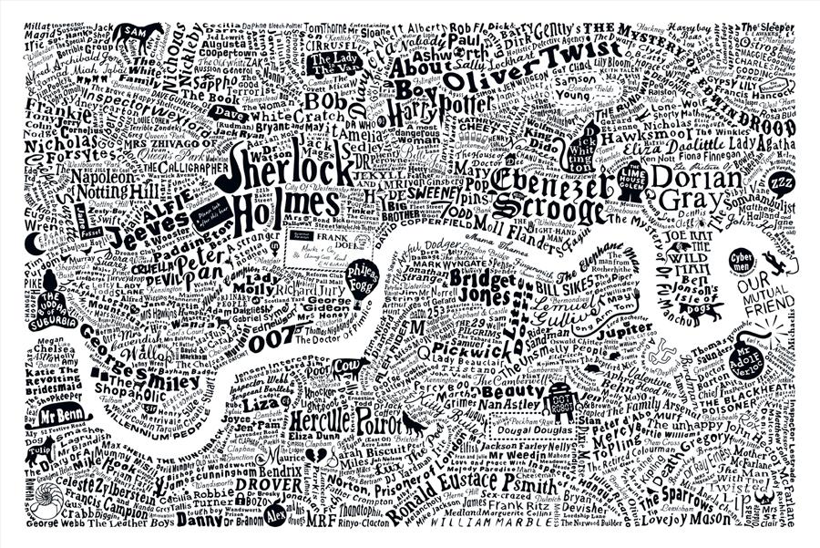 Literary London Map Literary London Art Prints Limited Edition